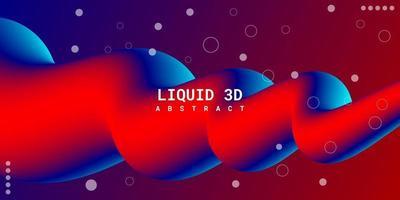 modern abstrakt flytande 3d bakgrund med blå och röd lutning vektor