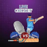 Cricket League Poster mit goldener Trophäe und Cricketspieler Helm vektor
