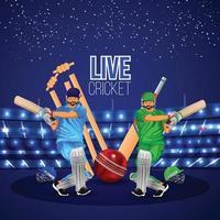 Cricket-Match-Konzept mit Stadion, Schlagmann, der Cricket und Goldtrophäe spielt, Bannersammlung vektor