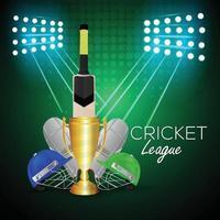 Cricket-Meisterschaftsturnier mit Trophäe und Fledermaus vektor