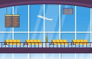 flygplats flygplan terminal gate väntrum hall interiör platt illustration vektor