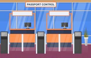 flygplats flygplan terminal gate ankomst avgångshallen interiör platt illustration vektor