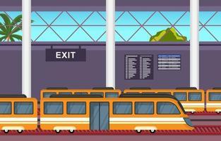 Eisenbahn öffentliche Verkehrsmittel Pendler U-Bahn Bahnhof flache Abbildung vektor