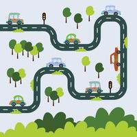 bilar på stadsvägen