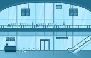 Flughafen Flugzeug Terminal Terminal Wartezimmer Halle Innen flache Illustration vektor