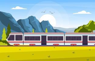 Eisenbahn Eisenbahn Seite öffentlichen Verkehr Pendler U-Bahn Zug Landschaft Illustration vektor