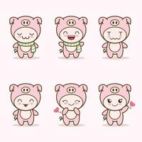 niedliches Schweinemaskottchen mit verschiedenen Arten von Ausdruckssetsammlung vektor