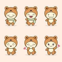 niedliches Bärenmaskottchen mit verschiedenen Arten von Ausdruckssetsammlung vektor