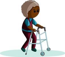 Vektorbild eines älteren dunkelhäutigen Mannes mit Erkrankungen des Bewegungsapparates, die mit einer Unterstützung gehen vektor