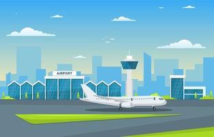 Flugzeug Flugzeug in Landebahn Flughafenterminal Gebäude Landschaft Skyline Illustration vektor