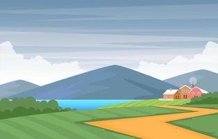 jordbruksfält gård lantlig äng natur scen landskap illustration vektor