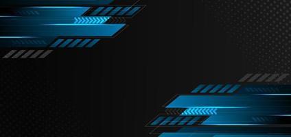 abstrakt teknik geometrisk blå och svart färg med blått ljus på svart bakgrund. du kan använda för annons, affisch, mall, företagspresentation. vektor