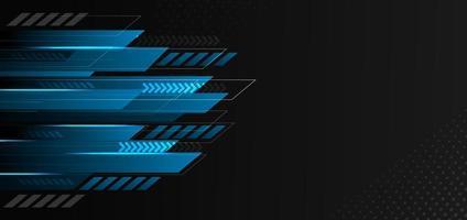 geometrische blaue und schwarze Farbe der abstrakten Technologie mit blauem Licht auf schwarzem Hintergrund. vektor
