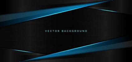 blaue metallische Überlappung der abstrakten Schablone mit modernem Technologiestil des blauen Lichts auf schwarzem Hintergrund. vektor