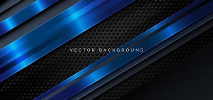 Schablonendiagonale Linien blaue und dunkle überlappende Schichten auf schwarzem Metallhintergrund. vektor
