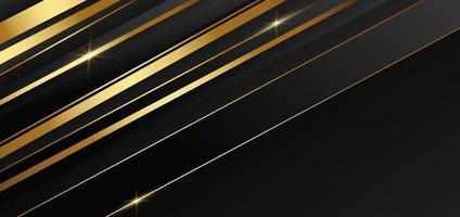 abstrakte Schablone goldene und schwarze Streifen mit goldenem Licht mit Kopierraum für Text. Luxusstil. vektor