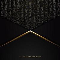 abstrakter schwarzer Dreieckhintergrund mit gestreiften Linien golden. Luxusstil. vektor