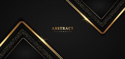 geometrische Überlappungsschicht des Luxusdreiecks der abstrakten Schablone auf schwarzem Hintergrund mit Glitzer und goldenen Linien mit Kopierraum für Text. vektor
