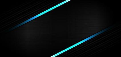abstrakte Vorlage schwarze Streifenlinie Diagonale mit hellblauem Effekt auf schwarzer Textur mit Kopierraum für Text. Technologiestil. vektor