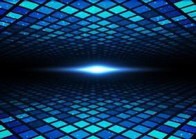 Quadratisches Muster des futuristischen digitalen Konzepts der abstrakten Technologie mit perspektivischen und leuchtenden Teilchenpunkten der Elemente auf dunkelblauem Hintergrund. vektor