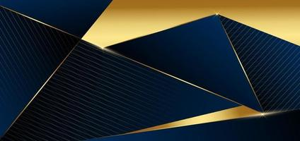 abstrakte dunkelblaue Design geometrische Hintergrund Dekor goldene Linien mit Kopie Platz für Text. Luxusstil. vektor