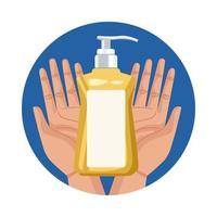 händer som lyfter antibakteriell tvålflaska vektor