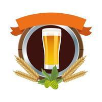 Bierkrug mit Gerstenspitzen und Banner vektor