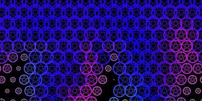 dunkelrosa, blauer Vektorhintergrund mit Mysteriumsymbolen. vektor