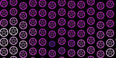dunkelvioletter Vektorhintergrund mit Mysteriumsymbolen. vektor