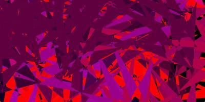dunkelrosa, rote Vektorschablone mit Dreiecksformen. vektor