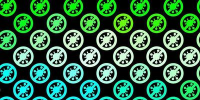 dunkelgrünes Vektormuster mit Coronavirus-Elementen. vektor