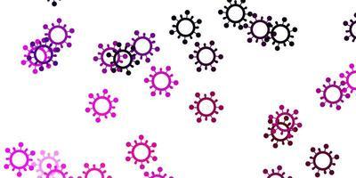 ljuslila, rosa vektormönster med coronaviruselement. vektor