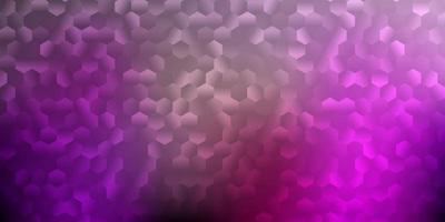mörk lila, rosa vektor bakgrund med sexkantiga former.