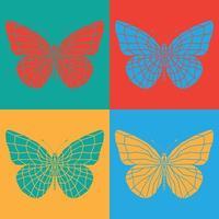 isolierte bunte Schmetterlinge eingestellt