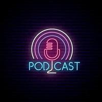 mikrofon podcast neonskylt vektor