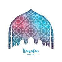 ramadan kareem vackert gratulationskort. moské silhuett i pappersstil. vektor