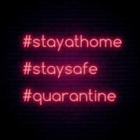 Bleiben Sie zu Hause, bleiben Sie sicher, Quarantäne Neon Hashtag Zitat Set vektor