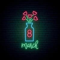 vas med blommor neonskylt. 8 mars ljus design. vektor