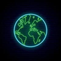 planetjorden neonskylt vektor