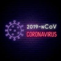 coronavirus neonskylt. starkt ljus banner 2019-ncov corona virus på mörk vägg bakgrund. vektor