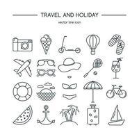 Reise- und Urlaubssymbolsatz. Vektorillustration. vektor