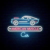 neonsilhuett av klassisk amerikansk muskelbil. glödande tecken. automatisk ikon.