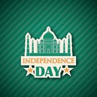 gratulationskort med taj mahal illustration för att fira självständighetsdagen i Indien.