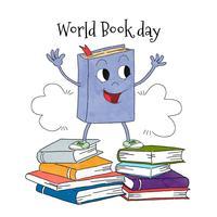 Tecknade bokkaraktär på en hög med böcker