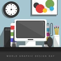 Flacher Grafik Designer Desktop vektor