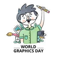 Gullig grafisk formgivare med element runt om i världsgrafikdagen
