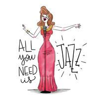 Sexy Jazz-Frauen-Sänger, der rotes Kleid mit Mikrofon trägt vektor