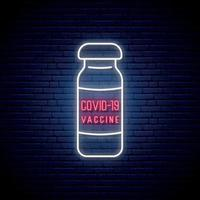 neonvaccin tecken. vacciner för att förebygga covid-19-viruset.