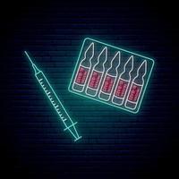 Neonspritze und Impfstoffzeichen. Stoppen Sie das Coronavirus-Konzept im Neon-Stil. vektor