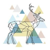 Silhouette eines geometrischen Hirsches, der auf der Seite steht. skandinavischen Stil.